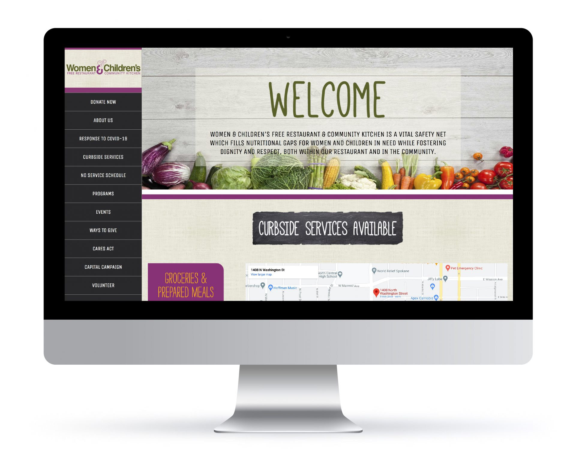 Custom WordPress website created for the Women and Children's Free Restaurant.